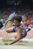 Namibia's Johanna Benson competes in the final of the women's long jump T37/38 athletics event at Hampden Park during the 2014 Commonwealth Games in...