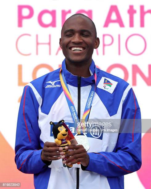 Namibia's Johannes Nambala with his silver medal after the Men's 200m T13 Final after the Men's 200m T13 during day five of the 2017 World Para...
