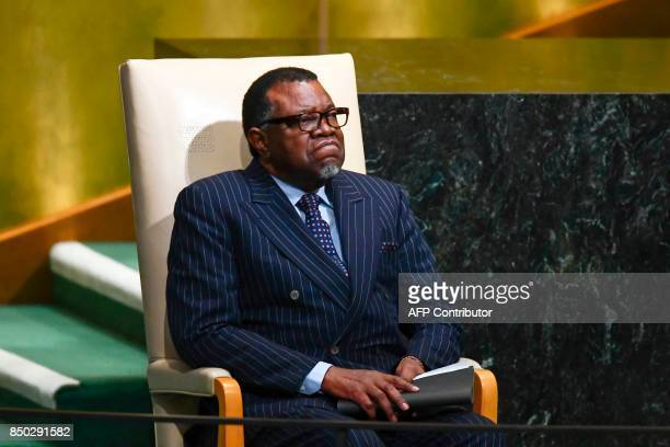 Namibia's President Hage Geingob waits to address the 72nd Session of the UN General assembly at the United Nations in New York on September 20 2017...