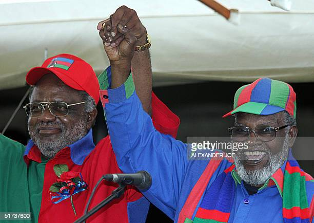 Namibia's President Sam Nujoma introduces his handpicked candidate from the ruling South West Africa People's Organisation party Hifikepunye Pohamba...