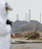 Namie Japan Photo taken from the town of Namie Fukushima Prefecture on April 25 shows exhaust towers at the Fukushima Daiichi nuclear power plant...