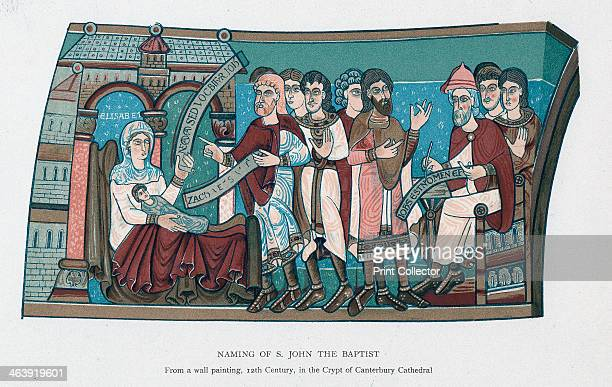Naming of Saint John the Baptist After a 12th century wall painting in the crypt of Canterbury Cathedral England