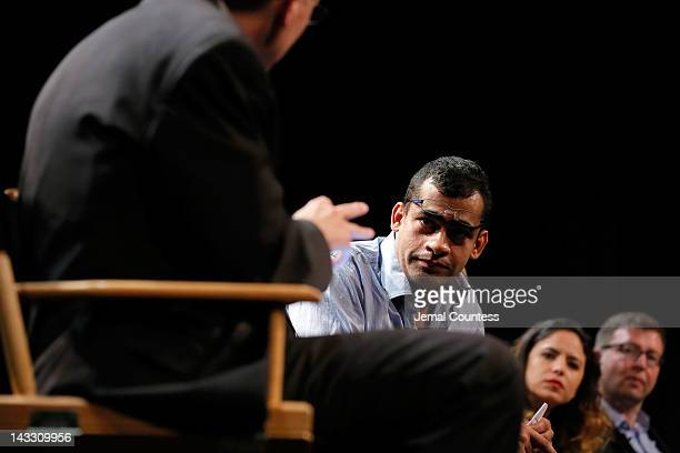 Namir Abdel Messeh Cindy Kirven and Tania Zarak attend Tribeca Talks Industry The Business Of Entertainment during the 2012 Tribeca Film Festival at...