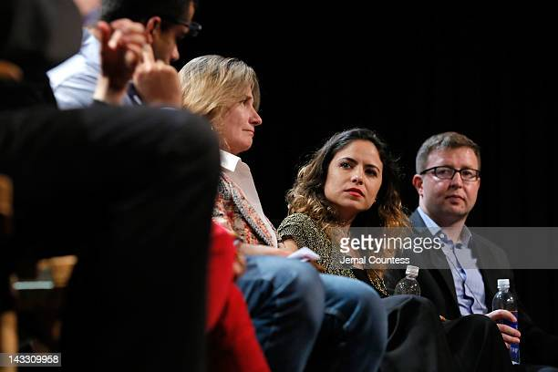 Namir Abdel Messeh Cindy Kirven Tania Zarak and Milan Popelka attend Tribeca Talks Industry The Business Of Entertainment during the 2012 Tribeca...