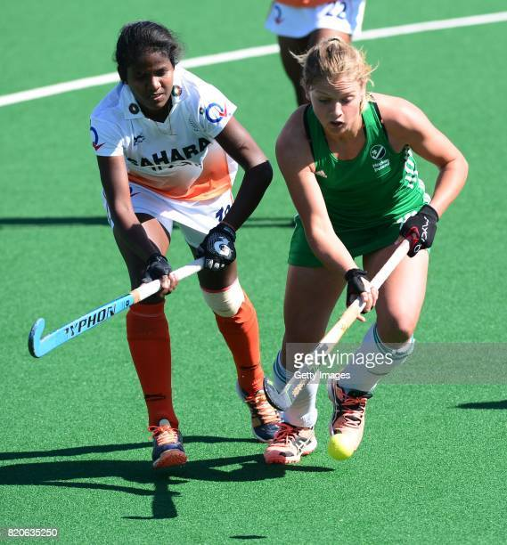 Namita Toppo of India and Chloe Wathins of Ireland during day 8 of the FIH Hockey World League Women's Semi Finals 7th8th place match between India...