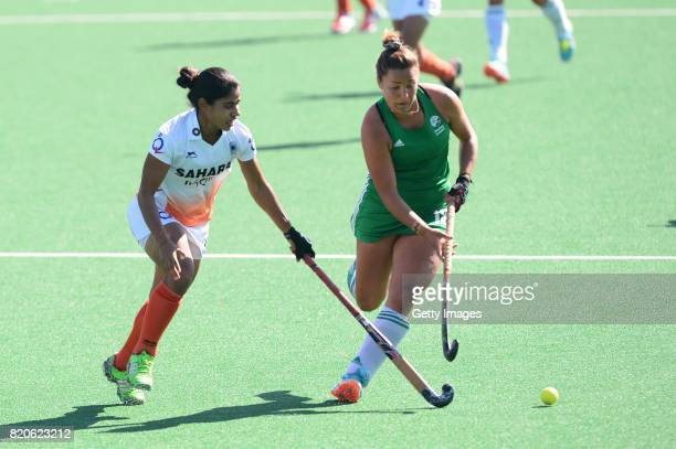 Namita Toppo of India tackles Elena Tice of Ireland during day 8 of the FIH Hockey World League Women's Semi Finals 7th8th place match between India...