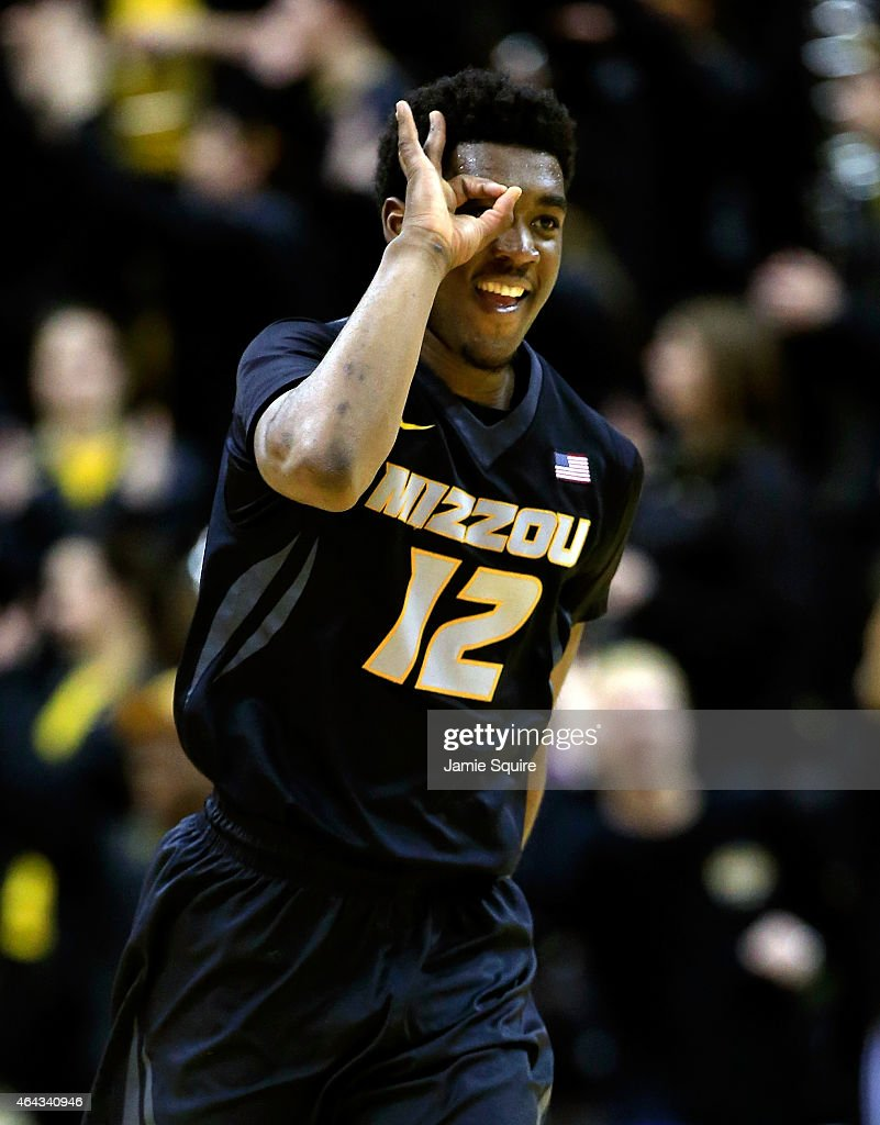 Namon Wright of the Missouri Tigers celebrates after hitting a threepointer during the game against the Florida Gators at Mizzou Arena on February 24...