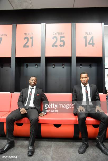 Nampaly Mendy and Alassane Plea of Nice during this inauguration of the new training center of this OGC Nice on October 5 2017 in Nice France