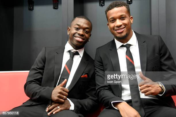 Nampalys Mendy and Alassane Plea of Nice during this inauguration of the new training center of this OGC Nice on October 5 2017 in Nice France