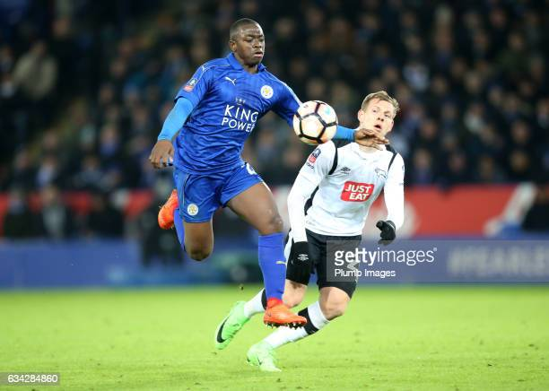 Nampalys Mendy of Leicester City in action with Matej Vydra of Derby County during the Emirates FA Cup Fourth Round Replay match between Leicester...