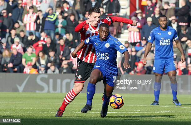 Nampalys Mendy of Leicester City in action with PierreEmile Hojbjerg of Southampton during the Premier League match between Southampton and Leicester...