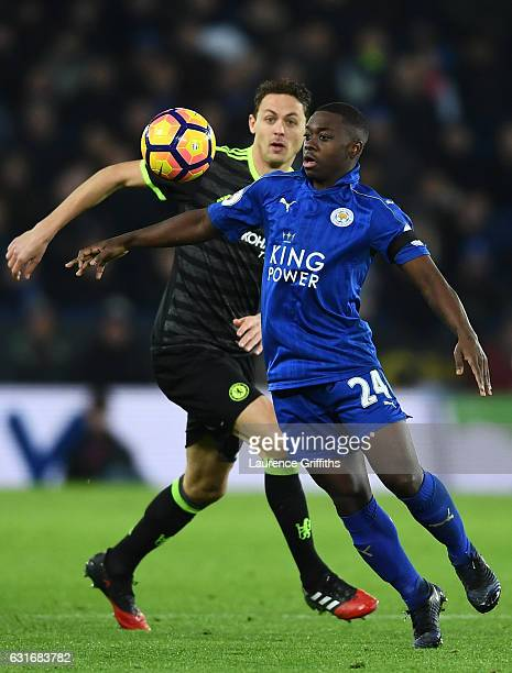 Nampalys Mendy of Leicester City is closed down by Nemanja Matic of Chelsea during the Premier League match between Leicester City and Chelsea at The...