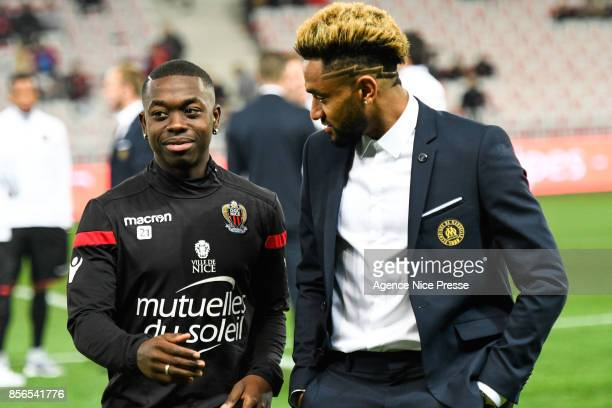 Nampalys Mendy of Nice and Jordan Amavi of Marseille during the Ligue 1 match between OGC Nice and Olympique Marseille at Allianz Riviera on October...