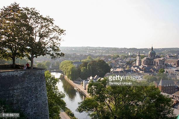 Namur city alongside the Meuse River from the Citadel