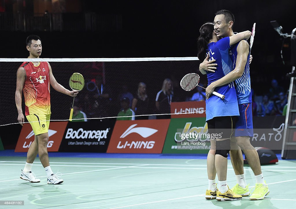 Nan Zhang and Yunlei Zhao of China celebrate their gold medal and world championship in the mixed double against Chen Xu and Jin Ma of China in the finals during the Li-Ning BWF World Badminton Championships at Ballerup Super Arena on August 31, 2014 in Copenhagen, Denmark.