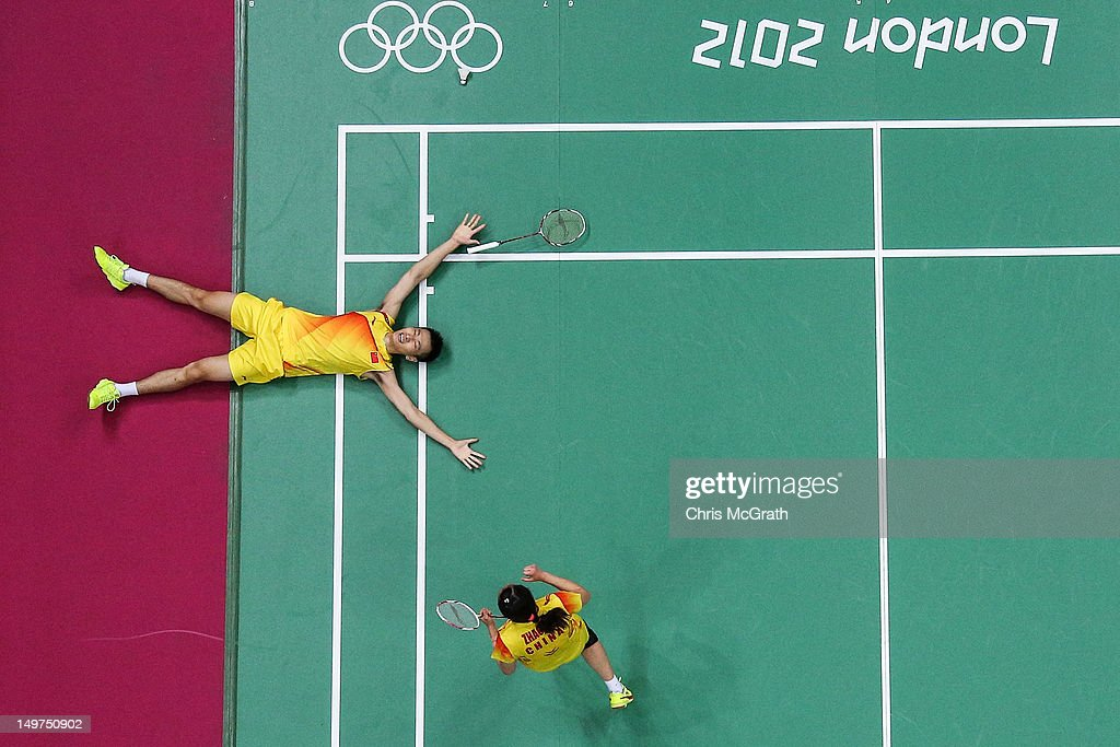Nan Zhang (L) and Yunlei Zhao of China celebrate winning the Mixed Doubles Badminton Gold Medal match against compatriots Chen Xu and Jin Ma of China on Day 7 of the London 2012 Olympic Games at Wembley Arena on August 3, 2012 in London, England.