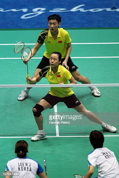 Nan Zhang and Yunlei Zhao of China compete in the Mixed Doubles Final against Baekcheol Shin and Hyojung Lee of South Korea Match at Tainhe Gymnasium...