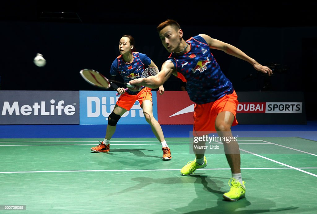 Nan Zhang and Yunlei Zhao of China in action against Chris and Gabrielle Adcock of England in the Mixed Doubles match during day two of the BWF Dubai World Superseries 2015 Finals at the Hamdan Sports Complex on December 10, 2015 in Dubai, United Arab Emirates.