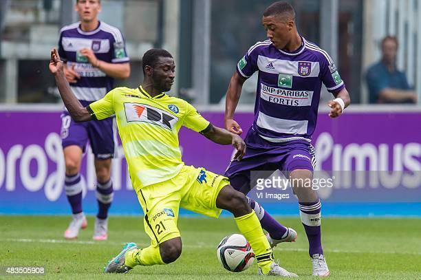 Nana Asare of KAA Gent Youri Tielemans of RSC Anderlecht during the Jupiler Pro League match between RSC Anderlecht and KAA Gent on August 9th 2015...