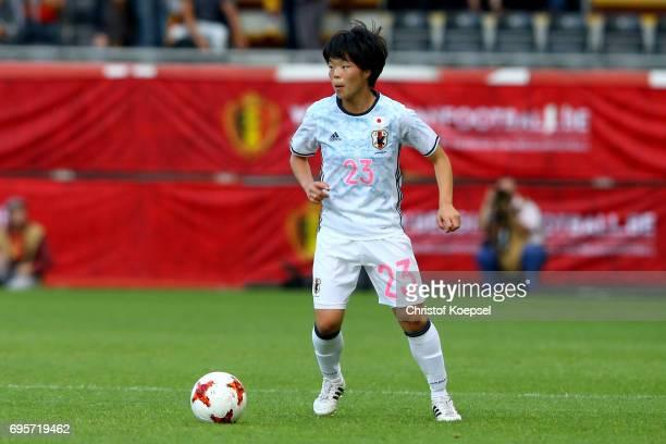 Nana Ichise of Japan runs with the ball during the Women's International Friendly match between Belgium and Japan at Stadium Den Dreef on June 13...