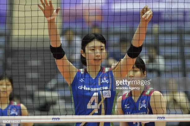 Nana Iwasaka of Hisamitsu Spring in action during the pool match of the FIVB Womens Club World Championship Day 1 between Hisamitsu Spring and...