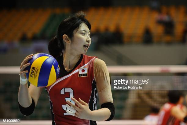 Nana Iwasaka of Japan reacts during the 19th Asian Senior Women's Volleyball Championship 2017 Classification match between Japan and Chinese Taipei...