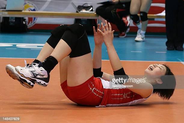 Nana Iwasaka of Japan reacts during the FIVB Women's World Olympic Qualification tournament match between Japan and Cuba at Yoyogi Gymnasium on May...