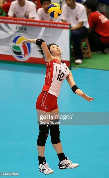 Nana Iwasaka of Japan serves during the FIVB Women's World Olympic Qualification tournament match between Japan and Chinese Taipei at Yoyogi...