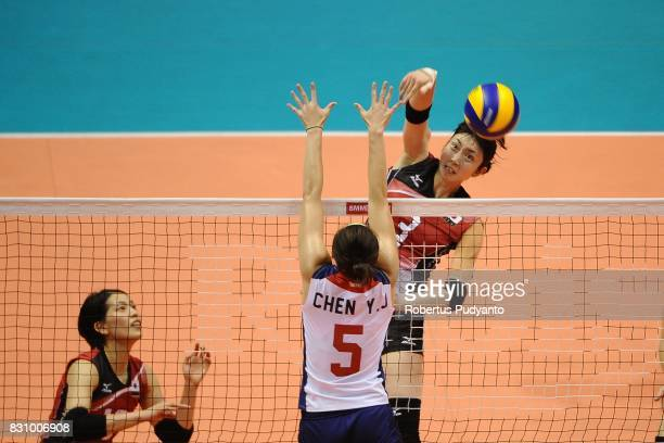 Nana Iwasaka of Japan spikes during the 19th Asian Senior Women's Volleyball Championship 2017 Classification match between Japan and Chinese Taipei...