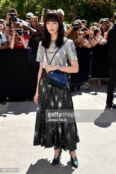 Nana Komatsu is seen arriving at the 'Chanel' show during Paris Fashion Week Haute Couture Fall/Winter 20172018 on July 4 2017 in Paris France