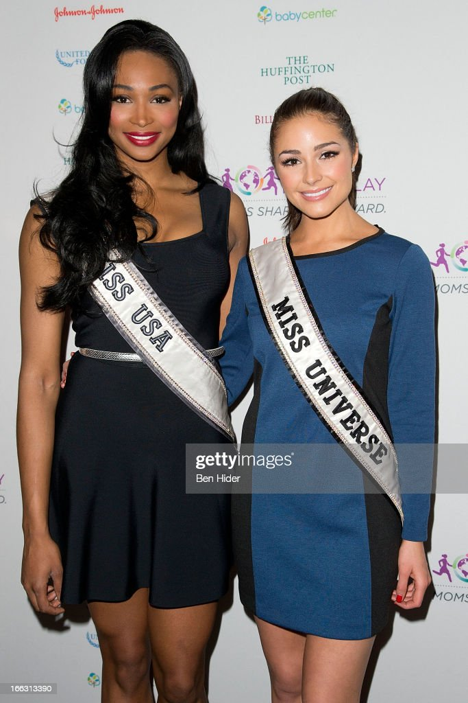<a gi-track='captionPersonalityLinkClicked' href=/galleries/search?phrase=Nana+Meriwether&family=editorial&specificpeople=4594046 ng-click='$event.stopPropagation()'>Nana Meriwether</a>, Miss USA 2012 and <a gi-track='captionPersonalityLinkClicked' href=/galleries/search?phrase=Olivia+Culpo&family=editorial&specificpeople=9194131 ng-click='$event.stopPropagation()'>Olivia Culpo</a>, Miss Universe 2012 attends Global Mom Relay Video Launch Event at Times Square on April 11, 2013 in New York City.