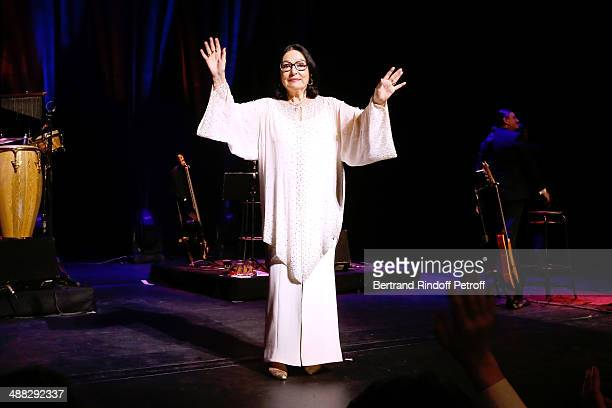 Nana Mouskouri performs on her Happy Birthday Tour Held at 'Theatre du Chatelet' on March 10 2014 in Paris France