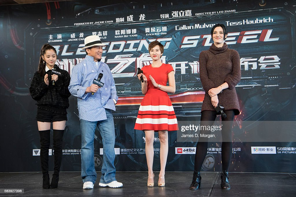 Nana Ouyang, Jackie Chan, Erica Xia-Hou and Tess Haubrich during a press conference and photocall for Bleeding Steel at Sydney Opera House on July 28, 2016 in Sydney, Australia.
