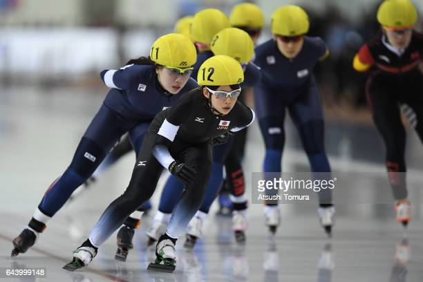 Nana Takagi of Japan competes in the speed skating ladies mass start on the day six of the 2017 Sapporo Asian Winter Games at Obihiro forest speed...