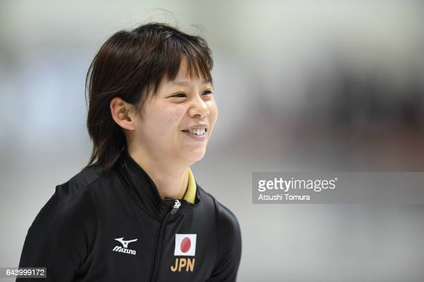 Nana Takagi of Japan smiles after finishing the speed skating ladies mass start on the day six of the 2017 Sapporo Asian Winter Games at Obihiro...