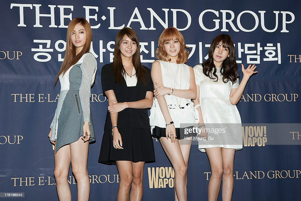 Nana, U-ie (Kim You-Jin), Lizzy and Raina of South Korean girl group After School attend during the E-Land Group press conference at the Lexington Hotel on August 27, 2013 in Seoul, South Korea. E-Land group announced today that it will start its entertainment business by making 'Hallyu' related content with 40 Korean management firms. The E-Land group said its 'WAPOP' project will offer an entirely new genre of 'Hallyu' by combining multiple contents.
