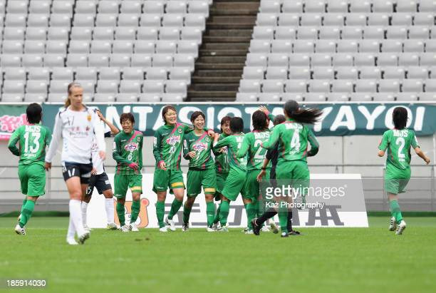 Nanase Kiryu of NTV Beleza celebrates scoring her team's first goal with her team mates during the Nadeshiko League match between NTV Beleza and INAC...