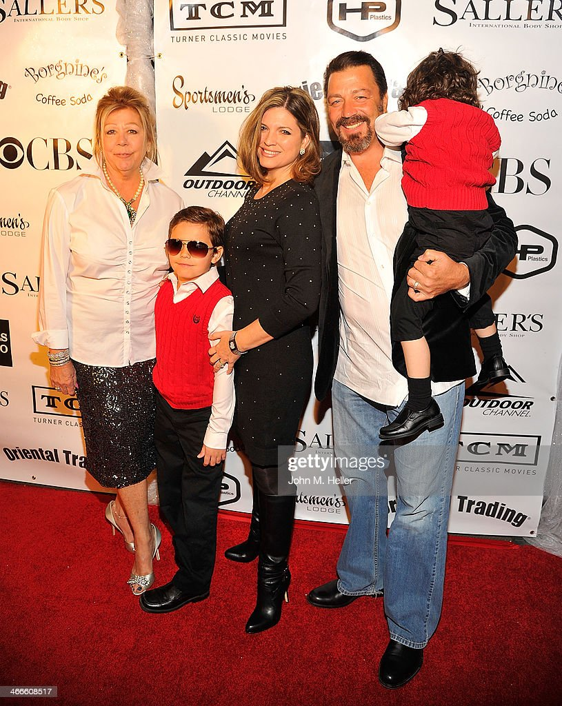 Nancy Borgnine, Anthony Ernest Borgnine, Kim Borgnine and Chris Borgnine and their children attend the 2nd annual Borgnine Movie Star Gala honoring actor Joe Mantegna at the Sportman's Lodge on February 1, 2014 in Studio City, California.