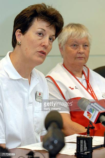 Nancy Brockway Chief Program Officer for the Metro Atlanta Chapter of the American Red Cross briefs the media on the Red Cross's response to Comair...