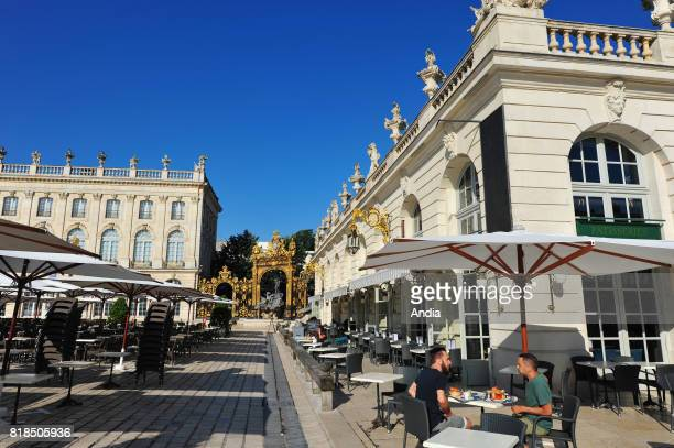 cafe terrace in the square 'place Stanislas' in the historic centre