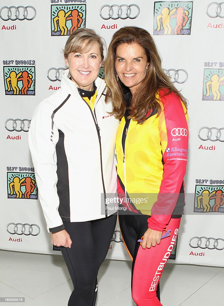 Nancy Chesley Senior Manager of Relationship Marketing at Audi of America and Maria Shriver attend the 20Mile start of the 2013 Audi Best Buddies...