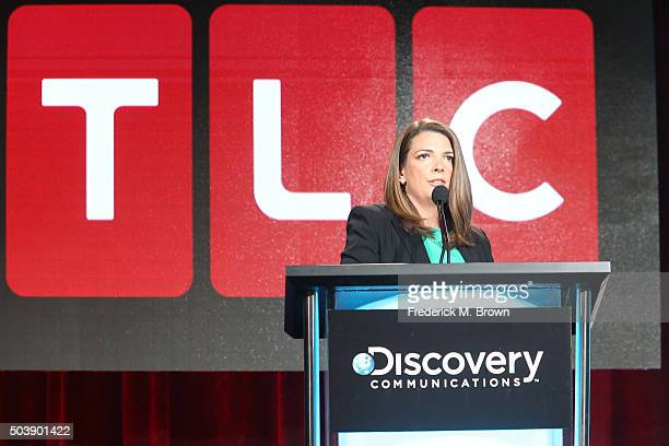 Nancy Daniels General Manager TLC speaks onstage during TLC's Single Dad Seekingpanel as part of the Discovery Communications portion of This is...