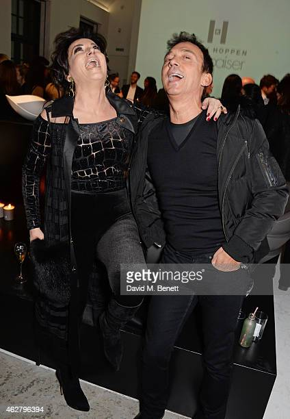 Nancy Dell'Olio and Bruno Tonioli attend the global unveiling of Kelly Hoppen's new bathware collection with Apaiser at IRIS Studios on February 5...