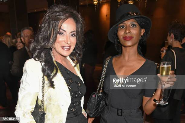 Nancy Dell'Olio and Sinitta attend a VIP screening of 'Beside Bowie The Mick Ronson Story' at The May Fair Hotel on May 8 2017 in London England