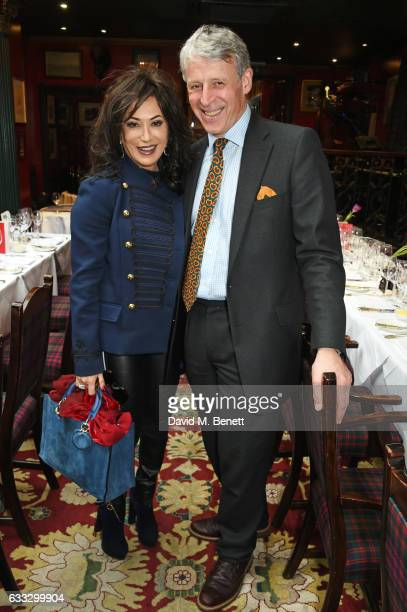 Nancy Dell'Olio and Stephen Busby attend Boisdale Life Magazine's inaugural 'Editors Lunch' at Boisdale Of Belgravia on February 1 2017 in London...