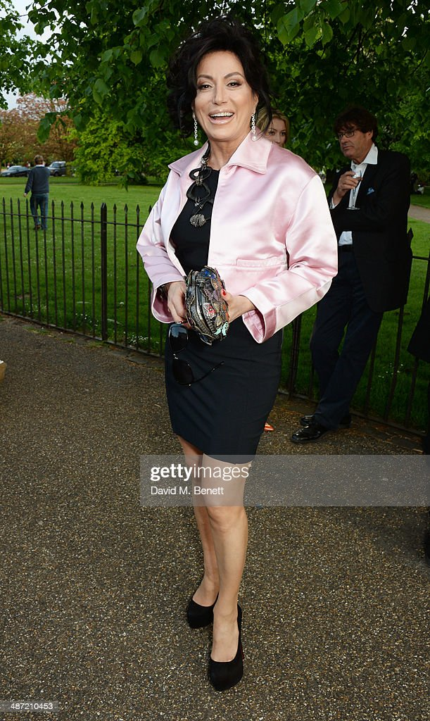 Nancy Dell'Olio attends the launch of 'Serpentine', a new fragrance by The Serpentine Gallery and fashion house Comme des Garcons featuring packaging artwork by Tracey Emin, at The Serpentine Gallery on April 28, 2014 in London, England.