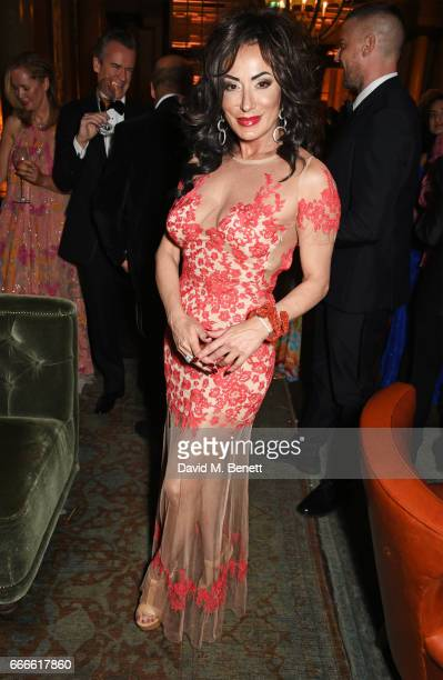 Nancy Dell'Olio attends The Olivier Awards 2017 after party at Rosewood London on April 9 2017 in London England