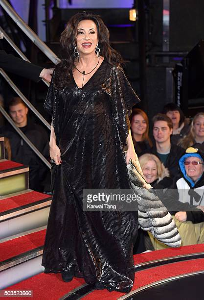 Nancy Dell'Olio enters the Celebrity Big Brother House at Elstree Studios on January 5 2016 in Borehamwood England
