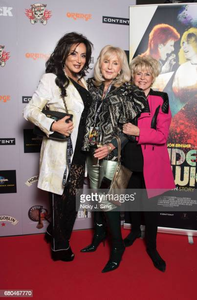 Nancy Dell'Olio Liz Brewer and Gloria Hunniford attend the UK Premiere of Jon Brewer's 'BESIDE BOWIE The Mick Ronson Story' at The Mayfair Hotel on...