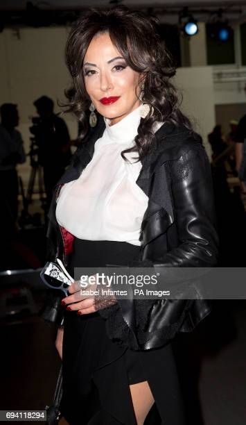 Nancy Dell'Olio on the front row during the Berthold London Fashion Week Men's SS18 presentation held at the BFC Show Space PRESS ASSOCIATION Photo...